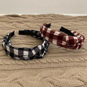Gingham Check Plaid Top Knot Turban Headband set